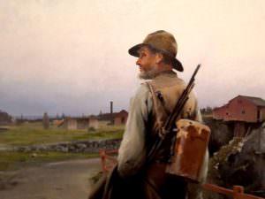 Vilhelm Hagborn, 1880, Detail, dynamite in the backbag